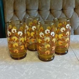 Set of 4 Vintage 1970s Amber Floral Tumblers